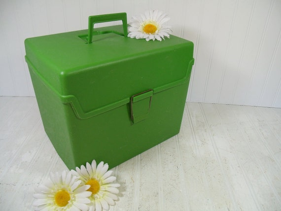 Retro Lime Green Plastic Oversized File Carrier Vintage