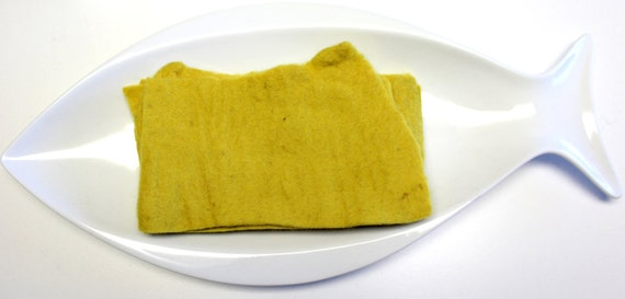 Thick Handmade 100% Pure Wool Felt REMNANTS in Mustard Yellow Artisan Made Pure Wool From Nepal Hand Dyed Wool Felt