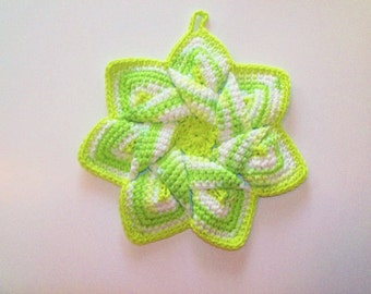 Star Flower Potholder - Key Lime Pie - 100% Cotton, Eco-friendly, Re-usable, Reversible