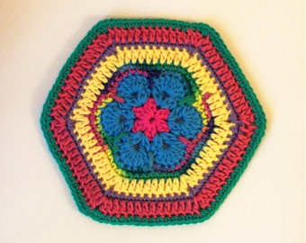 African Flower Table Mat - Plant Mat - Plant Rug - Colorful Centerpiece