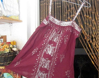 Fabulous Dark-Burgundy Embroidered and Sequined Halter Tank, Vintage - Medium