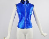 Vintage GIANNI VERSACE VERSUS Leather Metallic Royal Blue Vest Gillet  Pony Hair spotted Lining Small