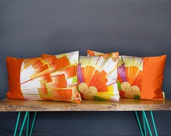 Orange Silk Cushion Set of 3 -Vintage Kimono Pillow Trio -Deco 1920s -Antique Japanese Obi Floral Starburst Throw Cushions