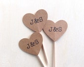 Personalized Cupcake Toppers, Kraft Heart, Succulent Favor Pick, Wedding, Shower, Party Decor, Double-Sided, Set of 15