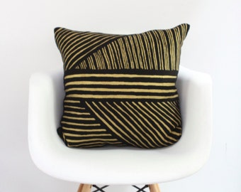"Karnataka 18x18"" pillow cover hand printed in metallic gold on black organic hemp"