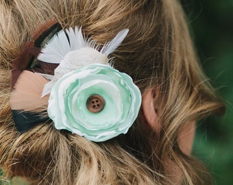 Flower Hair Clip | Wedding Hairpiece | Bridal Hairpiece | Bridesmaid Hairpiece | Hair Accessories | Feather Hair Clip | Woodland Wedding