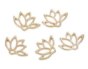 10 Small Gold LOTUS FLOWER Charm Pendants, 15x11mm, chg0492