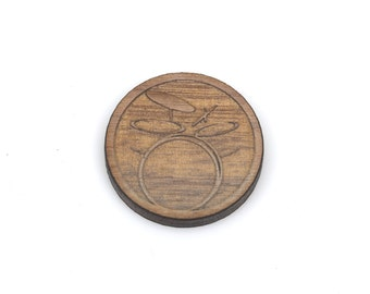 Set of 6 DRUM SET Charms, Wood Cabochons, Laser Cut Supplies, Laser Engraved Wood, Earring Gauge Plug, Sustainable Wood Supplies, lcw0103