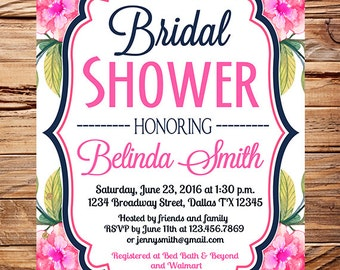 Watercolor flowers bridal Shower Invitation, watercolor roses stripes,navy, pink flowers bridal invitation, wedding,bridal shower, 5354