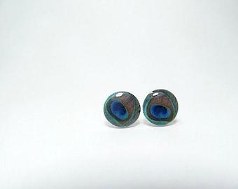 Peacock Feather Stud Earrings, Bird stud earrings, colorful earrings