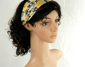 Cotton Headband in Modern Floral Daisy in Yellow Gold, Black and Tan Hair Fashion Handmade by Thimbledoodle