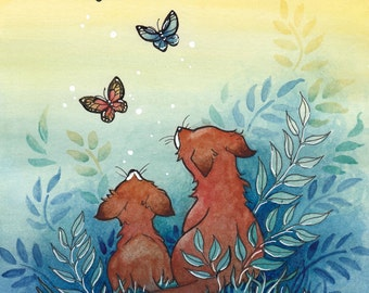 "Animal Art Print, Two Foxes and Butterflies, ""Peaceful Day"", Woodland Wildlife Art Print"