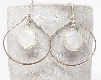 Moonstone Hoop Earrings - Dangle Earrings - Drop Earrings - Labradorite Earrings