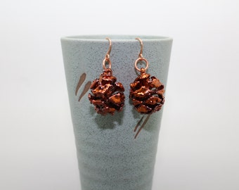 Iridescent Copper Redwood Cone Earrings