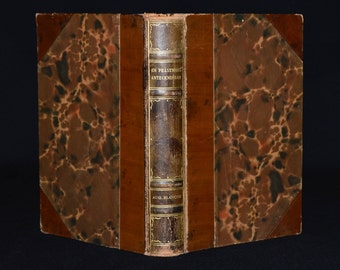 Beautifully Bound Swedish Book - Fine 1/2 Calf Leather Binding & Marbled Boards - Antique 1930's - A Priest's Notes (Translated Title)
