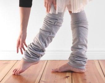 Pale grey ballet leg warmers, women leg warmers in cotton fleece, dancewear, gift for her