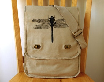 Dragonfly Canvas Messenger Bag Laptop Bag