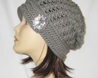 """Slouch decorated with brooch,beanie,hat,cap,grey,made to fit most teens & adults 21-23"""""""