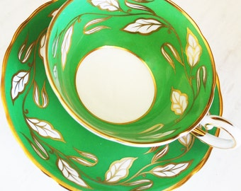 Tuscan Teacup and Saucer / Green with White and Gold Leaves