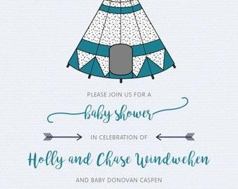 Tee Pee Baby Shower Invitation