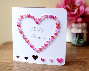 Handmade 3D Valentines Card, Personalised, Personalized, Be My To My Valentine, Love Heart, Happy Valentines Day, Named, 3D, Pink (BHE04)