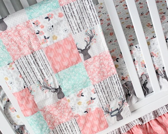 Fawn Patchwork Blanket - Girl Coral and Mint Woodlands Baby Blanket