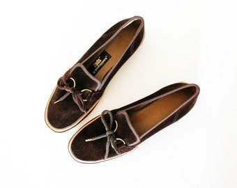 Vintage 1960s Keds grasshoppers . brown velour slip on Keds with rubber soles . 1960s loafers .  size 7