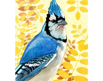 "Blue Jay Bird Art Print - Woodland Art - Woodland Nursery - Home Decor - 8 1/2""x11"" Art Print"