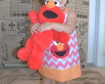 Elmo Dress, Sesame Street Elmo Dress,Elmo Chevron Pillowcase Dress,Elmo Outfit,Elmo Toddler Dress,Elmo 1st Birthday Dress, Infant Baby Dress