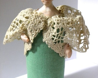 Woman in Green With Lace