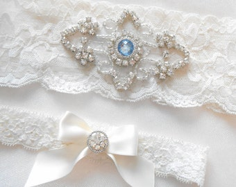 Wedding Garter Set Ivory or White Stretch Lace Bridal Garter Set With Soft Blue Pearl and Rhinestone Setting Garter Set.