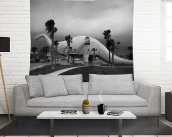 California Wall Tapestry, Surreal Wall Art, Dinosaur Tapestry, Black and White, Pee Wee Herman, Scifi Tapestry, Brontosaurus, Surreal Decor