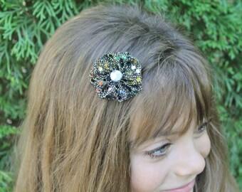 Sparkly Rainbow Sequins Hair Bow - Small Black Gold Sparkly Flower Hair Bow - Rainbow Flower Hair Clip