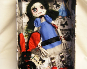 Artist Doll Zombie Gothic Alice In Wonderland Ooak - Frankenstein