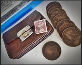 Vintage Real Leather Money Purse With One Original Queen Victoria 100 + Year Old Penny and a UK Franked Stamp