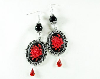Silver Dangle Earrings,  Gothic Victorian Red and Black Rose Cameo With Black Pearls,  Womens Gift  Handmade