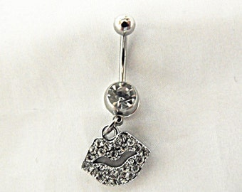 Belly Ring,  Sexy Lips With Rhinestones  Womens Gift  Handmade
