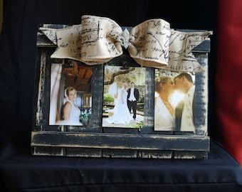 Picture Frame Collage, Barnwood Frame, Embellished Picture Frame, Wedding Gift, Bow Picture Frame, Fleur de Lis Decor, 4x6