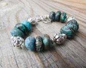 Turquoise Bracelet, raw turquoise rondelles, adjustable, big stone bracelet