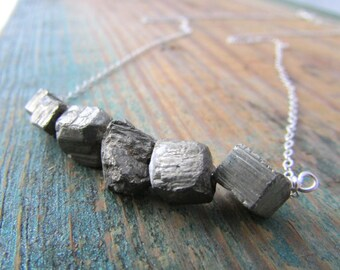 Raw Pyrite Necklace, small, unpolished nuggets of pyrite, bar necklace, swing necklace