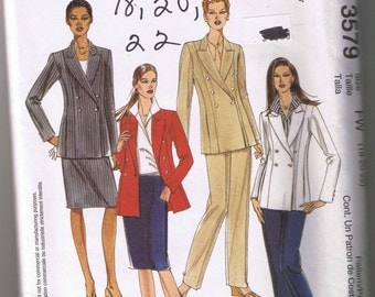 McCall's 3579 Misses Lined Jacket, Shirt, Pants, Skirt - Double Breasted - Sizes 18, 20, 22 - UNCUT