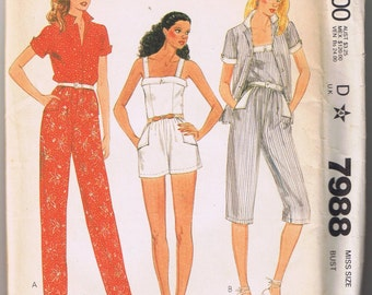 McCalls 7988 Misses' Shirt, Camisole and Pants or Shorts - Size 12 - UNCUT Factory Folded