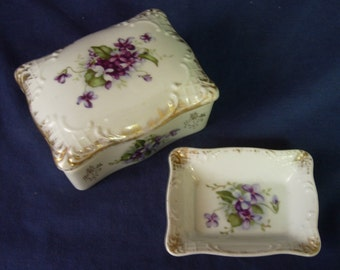 NAPCO Trinket Box and Coin Tray - White with Violets and Gold Trim