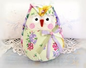 OWL Doll 5 inch Free Standing Owl, Multi-Color Floral Prints, Soft Sculpture Doll Primitive Handmade CharlotteStyle Decorative