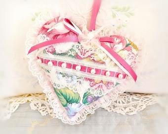 Heart Pillow /  Mothers Day Gift / Heart Ornament 6 inch  Ruffled Heart, Large Floral, Folk Art, Handmade CharlotteStyle Decorative Folk Art