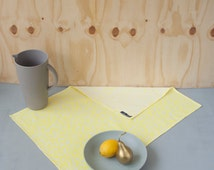 Geometric tea towel DOTS - yellow modern dish cloth