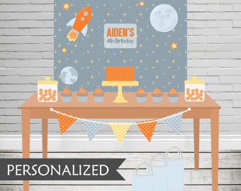 Printable Blast Off Party Backdrop - 3x4 ft. Personalized Printable Party Poster for Spaced Themed Parties .. bo01
