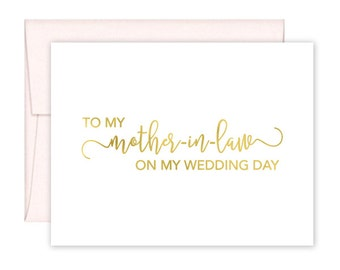 To My Mother in Law on my Wedding Day Cards - Wedding Card - Day of Wedding Cards - Mother in Law Wedding Card (CH-U7C)
