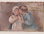 "Elizabeth Bem /  Elizaveta Boehm ""Only One Hot Kiss"", Antique Russian Postcard -- 1900s"