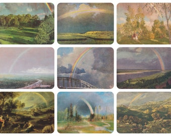 Landscapes with Rainbow. Collection / Set of 9 Vintage Prints, Postcards -- 1960s-1980s